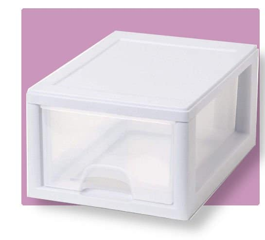 Sterilite stackable drawer white frame