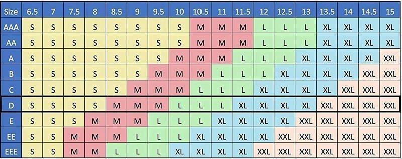 Shoe Tree Size Chart