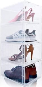 clear drop front shoe container